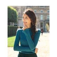 maglione primavera stand collare tutto match adatto forma di base stile manica lunga manica lunga maglia maglia maglione fabo