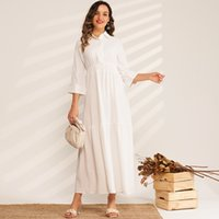 New Product Ladies Fashion Solid Color High Waist Pleated Folds College Style Sweet Long Wild Woman Pure White Dress