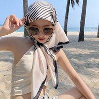 Spring and Automne Stripe Noir et Blanc Grand Foulard carré, soutien-gorge, écharpe solaire, 90 écharpe en soie, écharpe châle