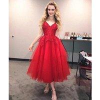 Spaghetti V Neck Prom Dresses Lace Applique Tulle Short Homecoming Party Gowns Tea Length A Line Graduation Bride Robe De Marrige