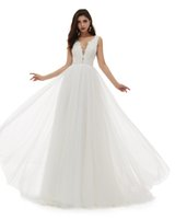 A-Line Wedding Dresses  Gown for Brides, Faux Pearls Lace Bodice Bridal Gowns with Tulle Skirt