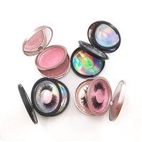 False Eyelashes Double Layer Eyelash Packaging Circle Box With Mirror 20Pcs Cases Clear Tray Nail Tip Storage