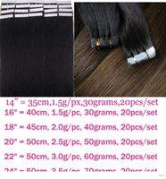 """Zzhair 14 """"16"""" 18 """"20"""" 22 """"24"""" Cheveux 100% Brésilien Remy Extensions de cheveux Humains 20pcs Pack Ruban de ski"""
