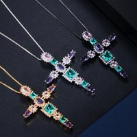 Pendant Necklaces EYIKA Elegant Colorful Cubic Zirconia Crystal Glass Big Cross Necklace For Women Black Gold Color Jewelry Accessories
