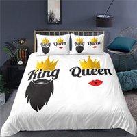 Rey y reina Crown Print Funda de edredón Conjunto con funda de almohada Ropa de cama de moda 2 / 3pcs 1Chilt + 1/2 Pillowcasas conjuntos de EE. UU. / EU / AU