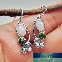 Delicate Vine Leaves Moonstone Drop Earrings For Women Dainty Cute White Olive Green Rhinestone Wedding Gift Dangle & Chandelier