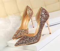 Dress Shoes 2021 Spring Women Pumps High Thin Heels Pointed Toe Metal Decoration Sexy Bling Bridal Wedding Gold