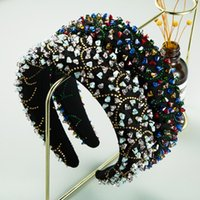 Shiny Gorgeous Colorful Crystal Beads Bridal Headbands Luxury Rhinestone Baroque Hairbands For Wedding Women Hair Accessories
