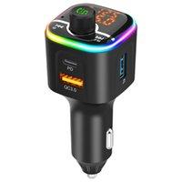Беспроводной автомобиль MP3-плеер Bluetooth Kit FM-передатчик Бесплатный зарядное устройство для громкой связи, поддерживает PD / QC3.0 USB быстрый зарядки аудио