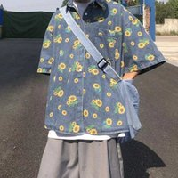 2021 Men's Vintage Denim Shirt Daisy Printing Wash blue Trendy Loose Short Sleeve Top Cowboy Camisa Masculina