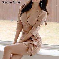 Сексуальные платья вечеринка ночное платье клуб 2021 секс старинные летние V-образным вырезом высокая талия женская одежда Y2K корейская мода повседневная