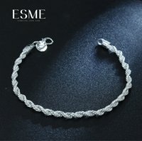 925 jóias finas de prata esterlina para mulheres e homens 4mm cadeia charme flash torcido corda pulseira pulseiras de prata jóias