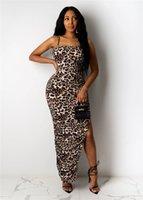 Spaghetti Strap Colorido Das Mulheres Vestidos Verão Sleaveless Split Leopardo Sexy Senhoras Bodycon Vestidos Designer Feminino Vestidos