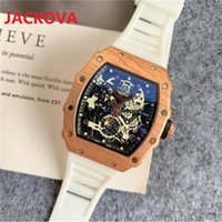 Skeleton Dial Designer Mens Sports Watches Fashion Rubber Strap Male Clock Relojes Top Brand High Quality Men montre de luxe Day-Date Gift President Wristwatches