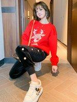 Desenhos animados Impresso Space Sweater de Algodão com prego Bead e Sequin + Mulheres Veludo Boxer Suit 2021 Primavera Nova Qualidade superior alta