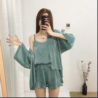 Summer Pajama Set Chiffon Womens Sleepwears 3Pcs Cardigan Vest Shorts Loose Elegant Ladies Sleepwear Pyjama Femme Homewear