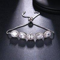 Link, Chain Ekopdee Fashion Oval Zircon Bracelet For Women Dainty Silver Color Crystal Adjustable Bridal Wedding Jewelry