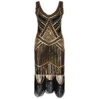 Abbellimento art deco decorato anni '20s vestito flapper vintage ruggente 20s grande gatsby costume dress in perline perline in rilievo abito da partito x0705