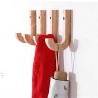 Crochet en bois Naturel Hook Hook Etude Vêtements muraux de vêtements de chasse-chapeau de sac de rangement de sacs de rangement pour salon à la maison OWD5667