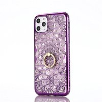 Luxury Plating Rhinestone Sunflower Soft TPU with Ring phone Cases for iphone 12 11 Pro Max XS XR X 8 7 Plus