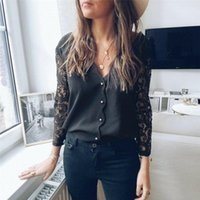Black Lace Blouse Women Elegant Long Sleeve Sexy V Neck Shirts Femme Spring Casual Blusas Tops Clothing Women's Blouses &
