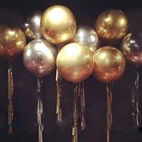 1 ADET 22 inç Altın Gümüş 4D Yuvarlak Folyo Balonlar Düğün Doğum Günü Partisi Dekorasyon Helyum Şişme Baloons Globos Balon Oyuncaklar