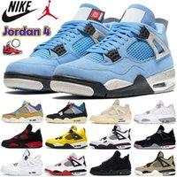الجامعة الأزرق الهواء الأردن 4 4 ثانية أحذية رجالي كرة السلة الأبيض أوريو لامع الأرجواني أسود القط bed لامع صبار جاك الرجال النساء أحذية نسائية الولايات المتحدة 5.5-13