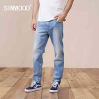 Simwood Bahar Düzenli Düz Kot Erkekler Moda Ripped Rahat Denim Pantolon Artı Boyutu Marka Giyim SK130189 210506