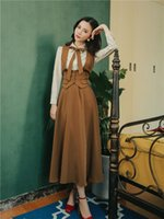 Two Piece Dress Three sets of French British retro-suit female autumn striped waist high shirt skirt three garments lady HOGC