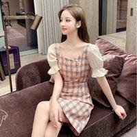 dresses 2021 summer style short skirt A-line slim bag hip sleeve cheongsam spring