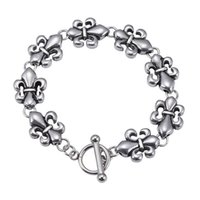 Vintage Retro Silver Stainless Steel Chrom&Hearts Cross Flowers Bracelets Men Titanium Steels Punk Fashion High Quality Hip-Hop Bracelet Jewelry Gifts Accessories
