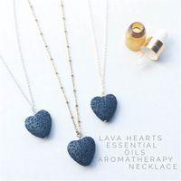 Corazón Lava Rock Colgante Collar 9 Colores Aromaterapia Esencial Oil Difusor Piedra En forma de corazón Collares para Mujeres Joyería de moda 307 T2