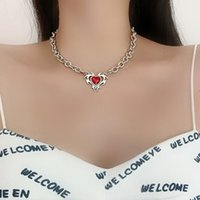 Chokers LOVOACC Punk Red Color Love Heart Crystal Pendant Necklace For Women Hollow Linked Chain Necklaces Hip Hop Accessories