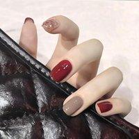 False Nails 24pcs Short Fangtou Red Wine Flash Powder Jump Color Removable Manicure Patch