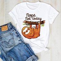 Ленистое лето напечатано напечатанные женские футболки смешные мультфильм одежда для тройников графическая одежда