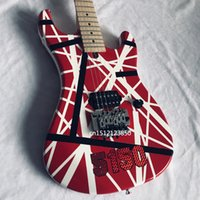 Eddie Van Halen 5150 حمراء 6 سلسلة غيتار كهربائي / أبيض أسود شريط / فلويد روز اهتزاز جسر /