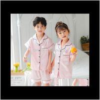 Baby Clothing Baby, & Maternity Summer Short Sleeve Children Pajamas Soild Kids Homewear Suit Casual Boys Pyjamas Set Sweet Girls Sleepwear D
