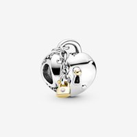 100% 925 Sterling Silver Two-Tone Heart and Lock Charm Fit Original European Charms Bracelet Fashion Wedding Jewelry Accessories