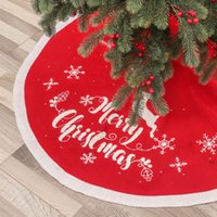 DHL 2021 New Christmas Tree Skirt Decoration Knitted Jacquard Embroidered Elk Snowflake Apron Accessories