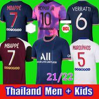 Mbappe Kean Soccer Jersey 21 22 Maillots de Futebol Camisas 2021 2022 Marquinhos Verratti Kimpembe Homens + Kit Kits Kit uniformes Enfants Maillot Pay Quarto