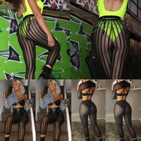 Women's Pants & Capris Sexy Women Striped Mesh Perspective Leggings Ladies Tight Knee Length Sports Workout Gym Stretchy Party Trousers Club