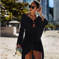 Women Beach Cover Ups Dress Cloak Knitted Hollow Out Designer Holiday Dress Vestidoes Womens Fashion Clothing