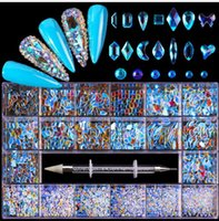 الأزرق الأحمر كريستال 21 شبكة زجاج حجر الراين ملصقات الماس للأظافر الفن زينة الأزياء diy مسمار الراين مانيكير الملحقات مع حفر القلم 14 ألوان