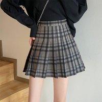 Skirts Sungtin Woolen Cute Plaid Pleated Women Korean Chic A Line Mini Skirt Female Loose Sweet Casual Short School Kawaii 2021