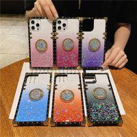 Moda Square designers telefone casos para iphone 12 11 pro max xr xs x 8 7 bling metal brilhante gradiente capa forgalaxy s21 s20 nota 20 10 com suporte