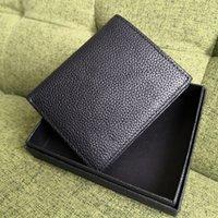 남자를위한 슬림 지갑 정품 가죽 블랙 컬러 프론트 포켓 Bifold Wallet Cash Pockets ID 홀더 패션 남자 신용 카드 가방
