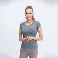 Lulu same 1-1 women's T-shirt slim fit new short sleeve fitness suit Yoga suit top sports sweat absorption