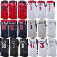Ekran Baskı Basketbol Bradley Beal Formalar 3 Thomas 13 Raul Neto 19 Davis Bertans 42 Spencer Dinwiddie 26 Deni Avdija 9 Donanma Mavi Kırmızı Beyaz Siyah Gri Adam Kadın Gençlik