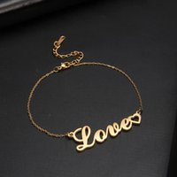 Charm Bracelets Fishhook Love Old Word Letter Heart Rose Gold Color Bohemia Stainless Steel Gift For Woman Man Lover Bracelet Bangle Jewelry