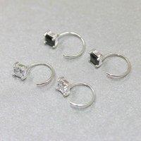 Square Zircon S925 Sterling Silver Ear Hook Men's and Women's Universal Fashion Earrings Couple's Black Diamond Small Earrings